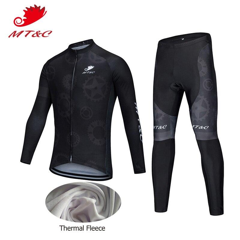 цена на MT&C Man Winter Cycling Jersey Set Black Gear Windbreak Sport Clothes Pro Cycling Team Clothing Quick Dry Gel Pad Bike Clothes