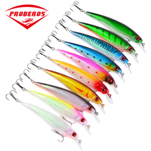 10PC Minnow Fishing Lures 4.33″-11cm/0.486oz-13.77g Fishing Tackle 10 Color Bass Bait 4# Hook Fishing Tackle