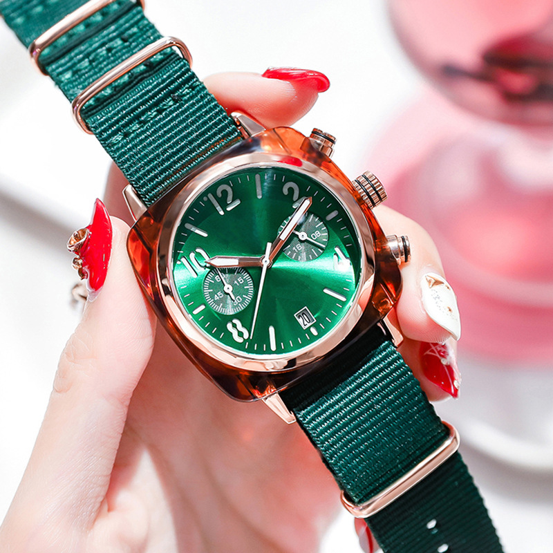 Fashion Watch Women 2019 Luxury Rose Gold Ladies Square Quartz Wristwatches Fashion Casual Green Nylon Strap Clock Dropshipping