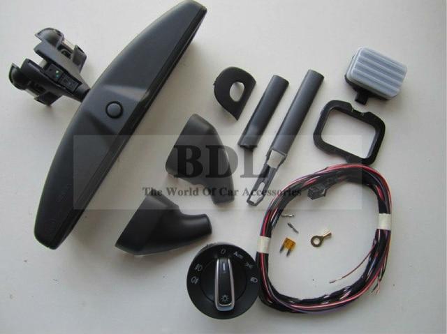 BODENLA Auto headlight switch+Rain Light Wiper Sensor+Anti-glare Dimming Rear View Mirror For VW Tiguan Jetta MK5 Golf 6 MK6