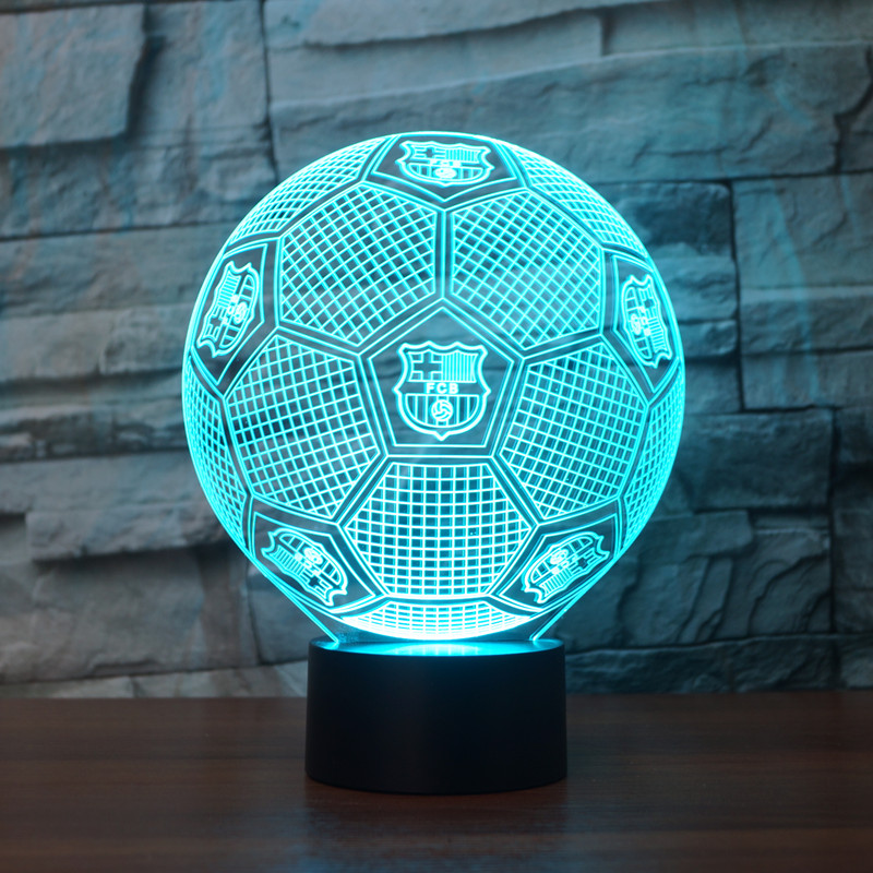 3D Lights USB Novelty FCB Football Club LED Touch Lamp Soccer fcB Night Lights 3D