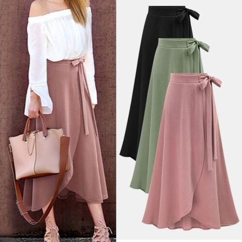 2020 Women Maxi Boho Irregular Summer Beach Long Casual High Waist Fashion Skirt New