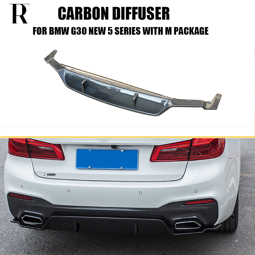 G30 3D estilo fibra de carbono difusor del tope posterior para BMW G30 nuevo 5 Series 530i 540i con M paquete 2017 arriba