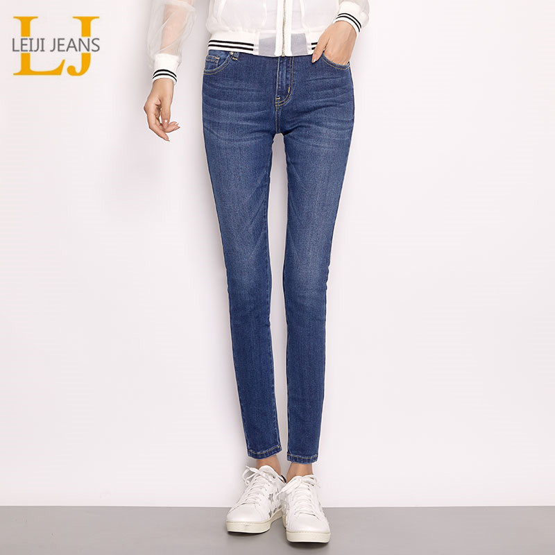 LEIJIJEANS New Arrival Spring Plus Size Moustache Bleached Full Length Casual Denim Skinny Pencil Mid Waist Women Jeans