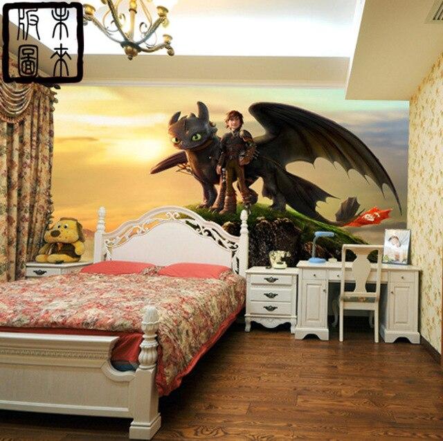 Customize Murals How To Train Your Dragon Photo Cartoon Boys Kids Room Decor Bedroom
