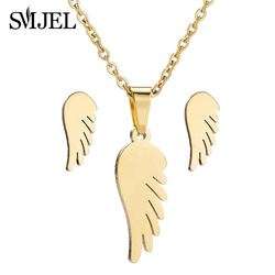 SMJEL New Fashion Stainless Steel Love Angel Wing Necklaces for Women Girl Kids Love Heart Charm Clavicle Chain Necklaces Gifts