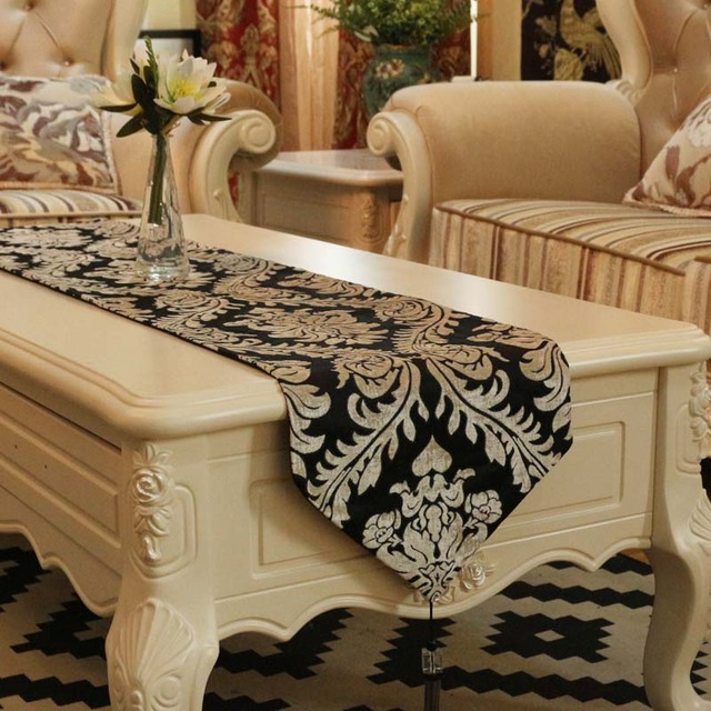 Jacquard Flowers Table Runner Placemats Fabric Coffee Table Flag Bed Runner  High Quality