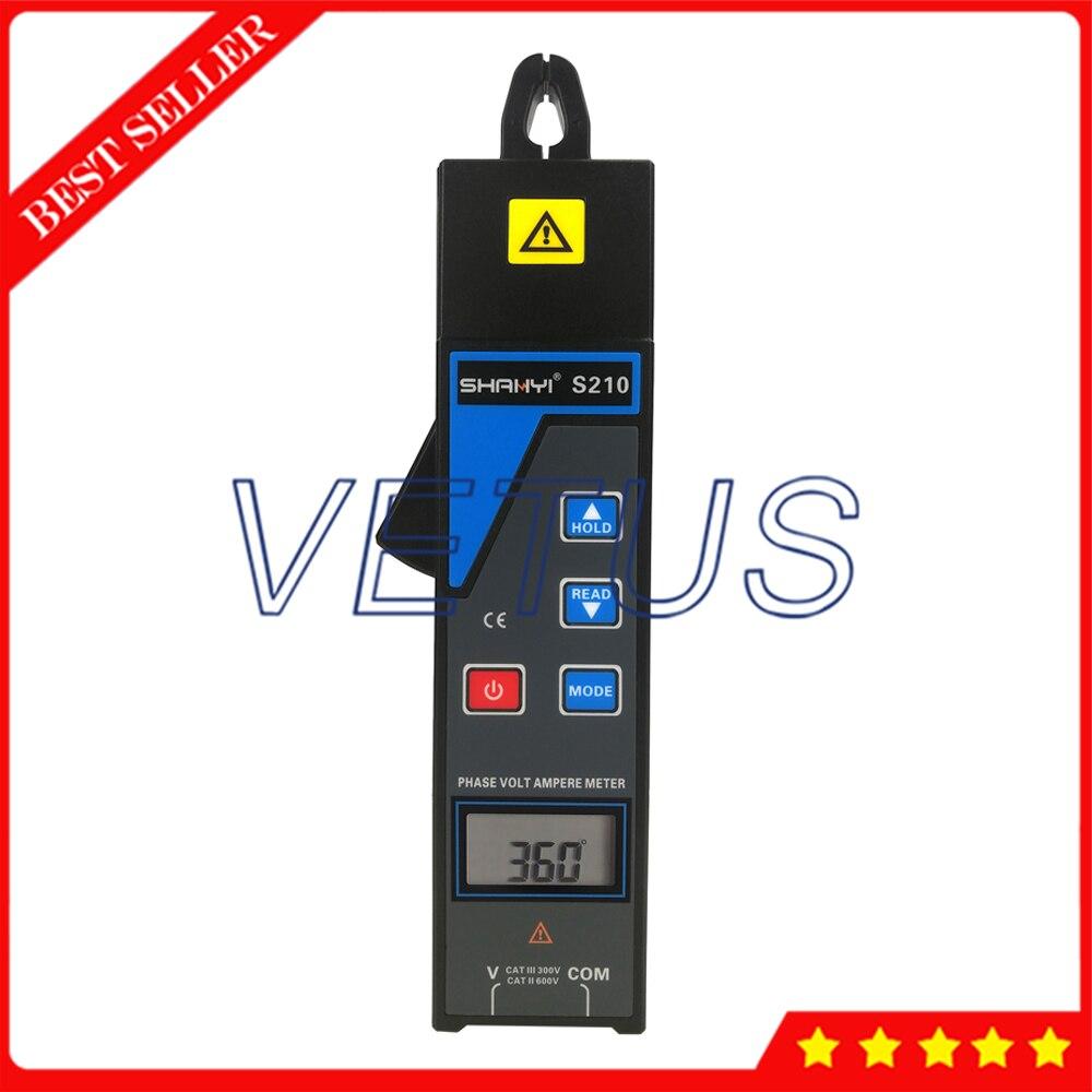S210 однозажимной цифровой фазный Вольт Амперметр мини фазный Вольт Амперметр ЖК дисплей с 0 до 400 Гц Частотный диапазон - 3