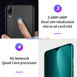 """Image 3 - Blackview A60 Pro 6.088"""" Waterdrop Screen Mobile Phone Android 9.0 4080mAh MTK6761 Dual Rears Cameras 4G Cellphone"""