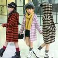 Crianças Vestuário 2016 Meninas Casacos e Jaquetas de Inverno Casacos Roupa Dos Miúdos Meninas Casaco De Lã Xadrez Outerwear 5-15Years