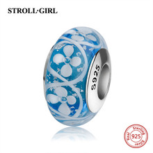StrollGirl new 925 sterling silver blue color Murano glass beads diy flower charms fit authentic Pandora bracelet jewelry gift