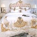 Комплект постельного белья в европейском стиле  белый  розовый и синий  роскошный  королевская вышивка  80S  из египетского хлопка  пододеяльн...