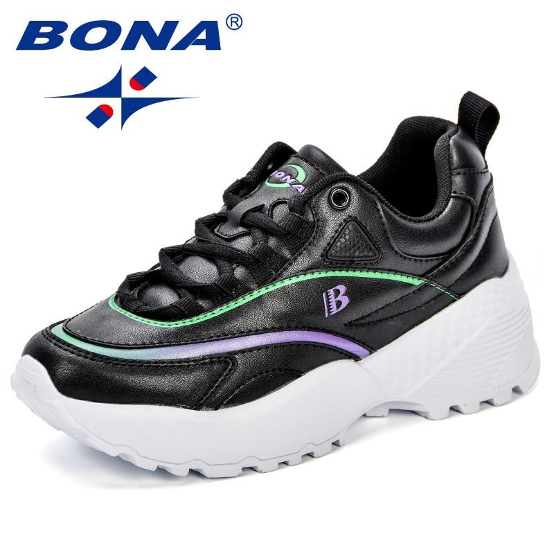 BONA Fashion 2018 Casual Shoes Woman Autumn Comfortable Breathable Flats Female Platform Sneakers Women Tenis Feminimo