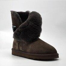 O Envio gratuito de Nova Chegada 100% Real Fur Clássico Mujer Botas À Prova D' Água Genuína Botas de Neve de Couro Do Couro Sapatos de Inverno para As Mulheres