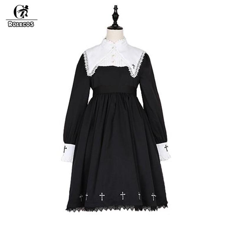 ROLECOS Steampunk Darkness Cross Dress For Women Gothic Lolita Nun Sister Lace Long Sleeve Dress Cross Embroidery Cosplay Dress gothic lace up tiered women s long dress