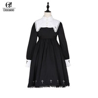 ROLECOS Steampunk Darkness Cross Dress For Women Gothic Lolita Nun Sister Lace Long Sleeve Dress Cross Embroidery Cosplay Dress