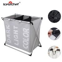 ICESTCHEF 600D Oxford Cloth Dirty Clothes Laundry Basket Bathroom Laundry Hamper Folding Storage Bag Organizer 3 Gird