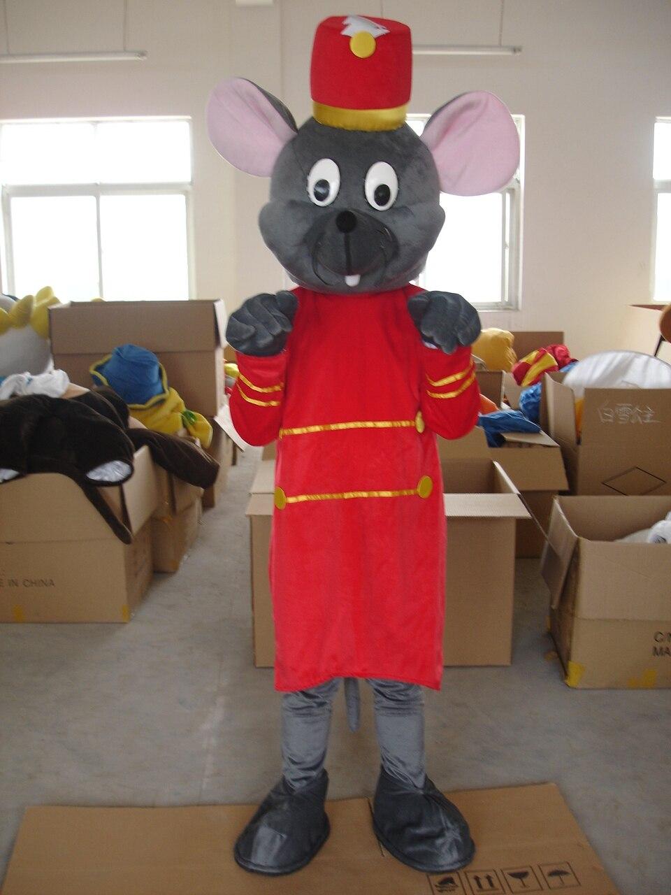 Costume de mascotte de souris gris et rouge pour adultes