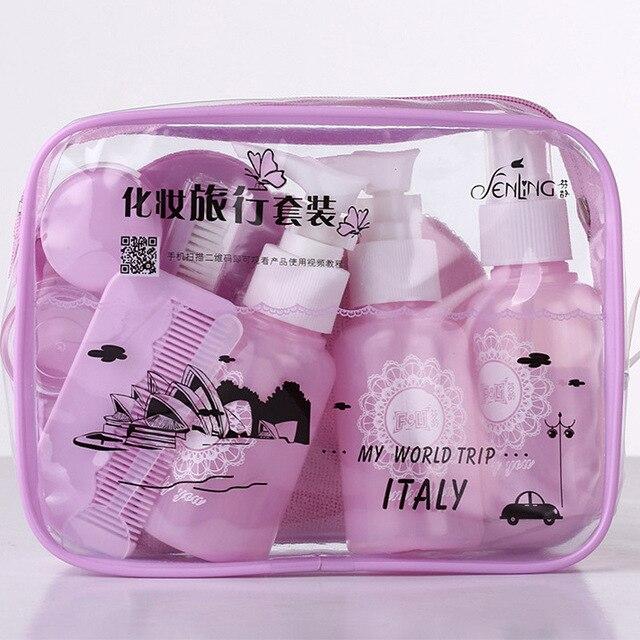 10 pcSet путешествия мини набор косметики Портативный Путешествия пустой косметический емкость бутылка крем пластиковые бутылки для лосьонов дорожные аксессуары