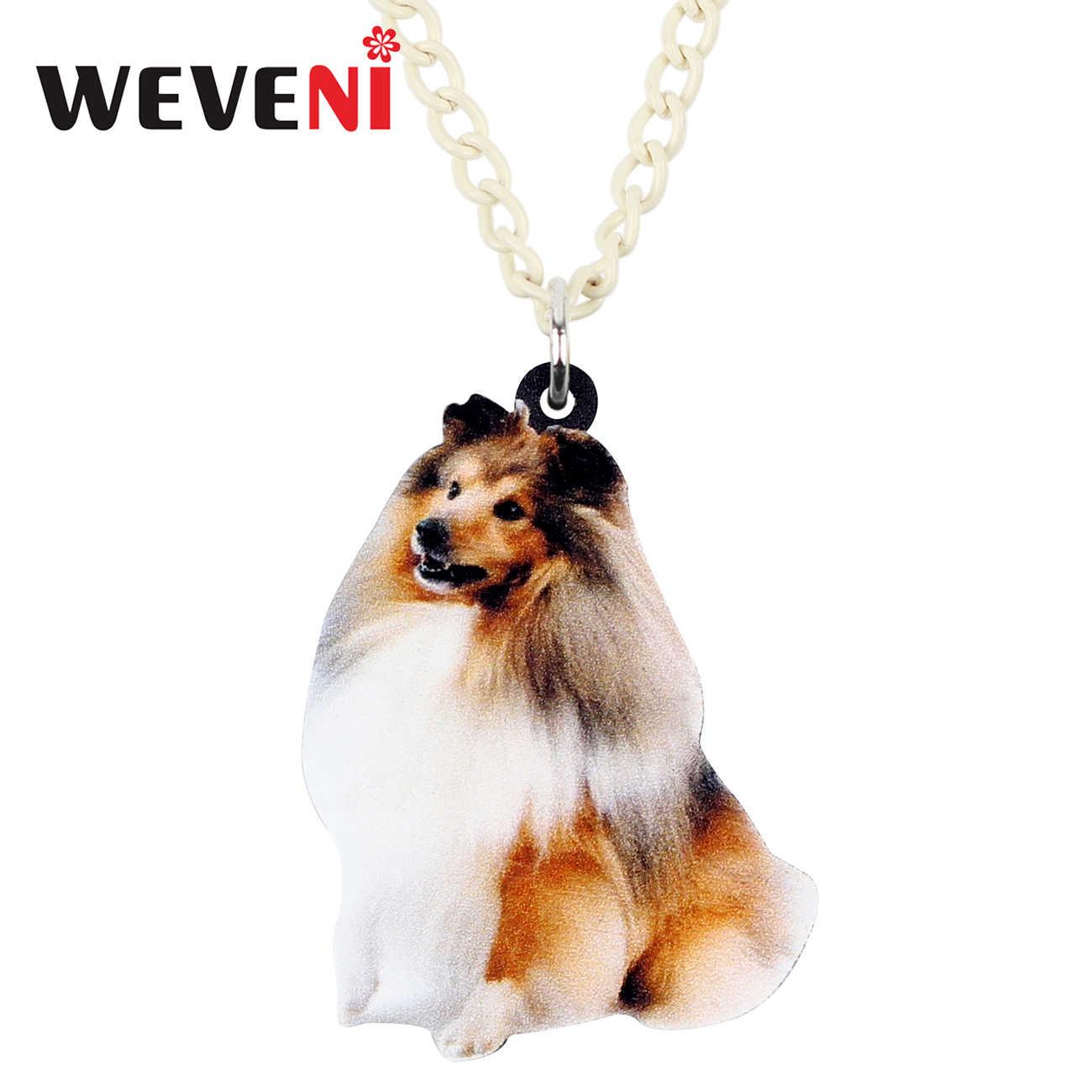 WEVENI acrílico sonrisa áspera Collie Sheltie perro COLLAR COLGANTE suéter cadena gargantilla Animal joyería para mujer chica regalo al por mayor