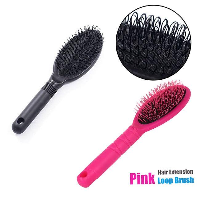 1 Pc Hair Comb Black Pink Plastic Loop Hair Extensions Brush