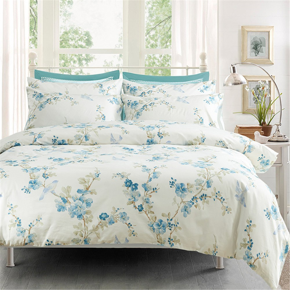 h c 100 high end long staple cotton 5 piece comforter set with comforter blue flower green. Black Bedroom Furniture Sets. Home Design Ideas