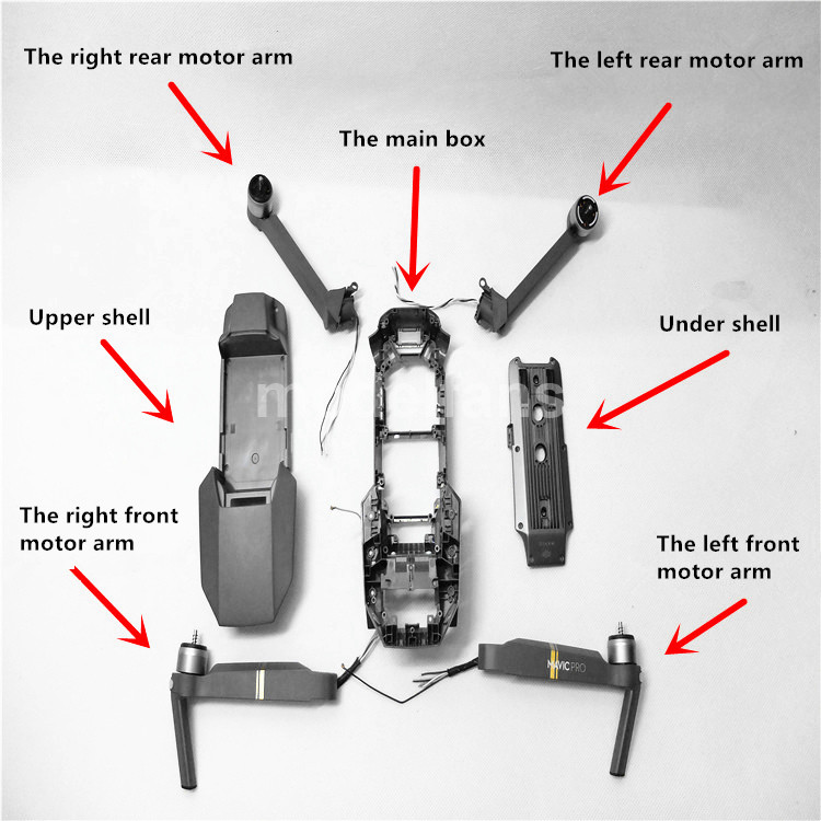 Original Mavic Pro accessories shell in the box shell / front and rear motor arm and Left and right arm