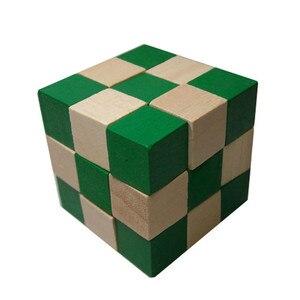 Image 4 - 27 セクション木製の定規ヘビツイストパズルホット販売チャレンジ IQ 脳のおもちゃ古典的なゲーム