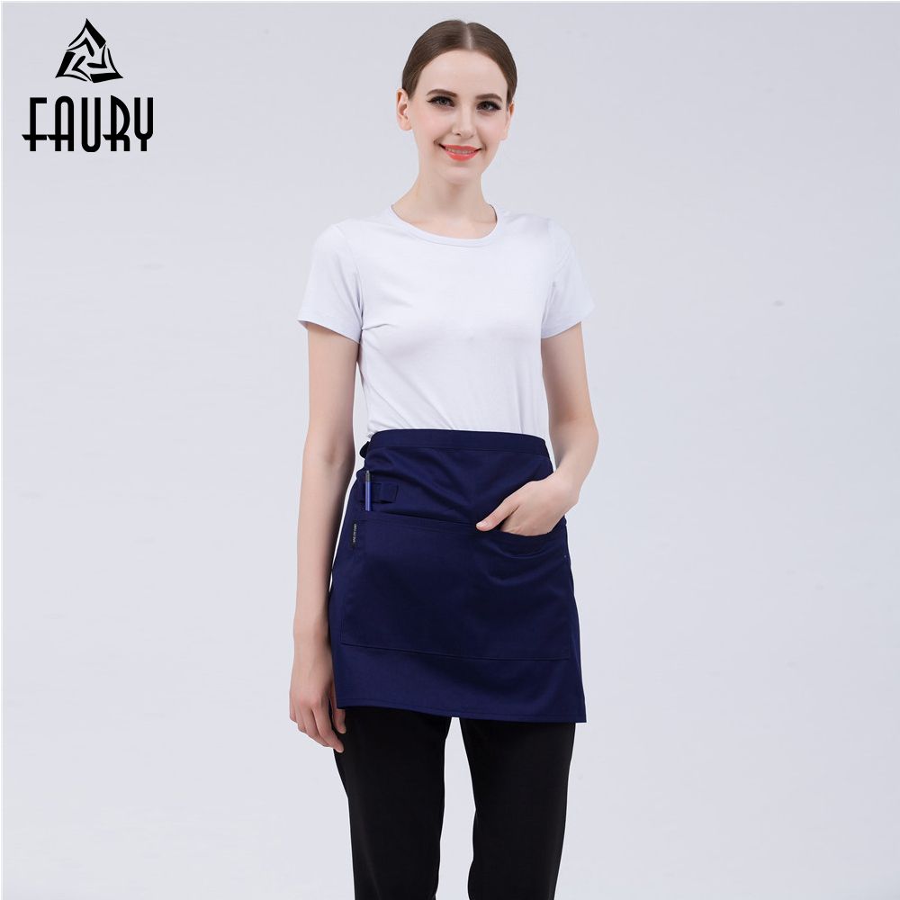 Wholesale Women Short Aprons With Pen Holder Pockets Food Service Restaurant Kitchen Bakery Cafe Chef Waitress Work Wear Uniform