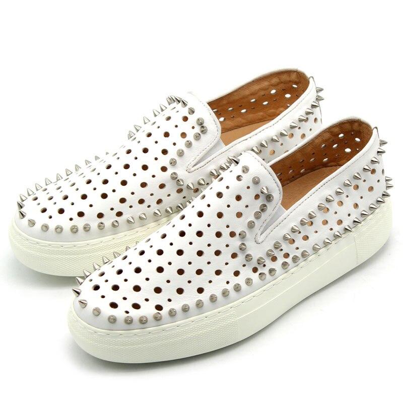 Respirável Sapatos Baixos Tênis Branco De Couro