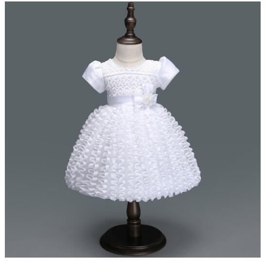 Baby Girls Pageant Formal Dresses 2018 Summer Baptism Bow Lace Cute Infant Princess tutu Dress Kids Birthday Party Dress White baby girls pageant formal dresses 2017 baptism bow lace cute infant girls princess tutu dress kids birthday party dresses pink