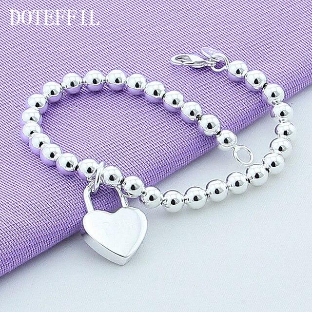DOTEFFIL 925 Sterling Silver Heart Lock 6mm Beads Chain Bracelets Jewelry Women Top Quality Lovers Bracelets Christmas Gift 4