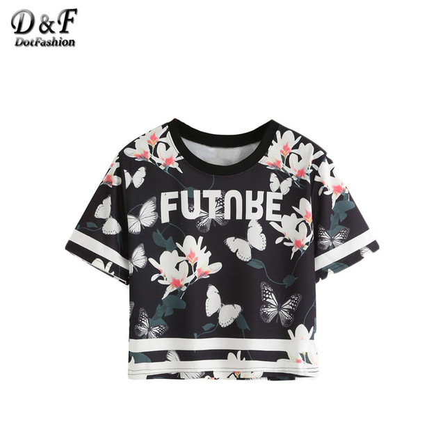 4f29e827a08cc2 Dotfashion Summer T-shirt Women Black Floral and Butterfly Print Casual  Varsity Tops 2019 New