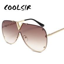 COOLSIR New 2019 Pilot Sunglasses Men Brand Designer Metal Frame Oversized For Women Top Fashion Eyewear UV400 Mirror
