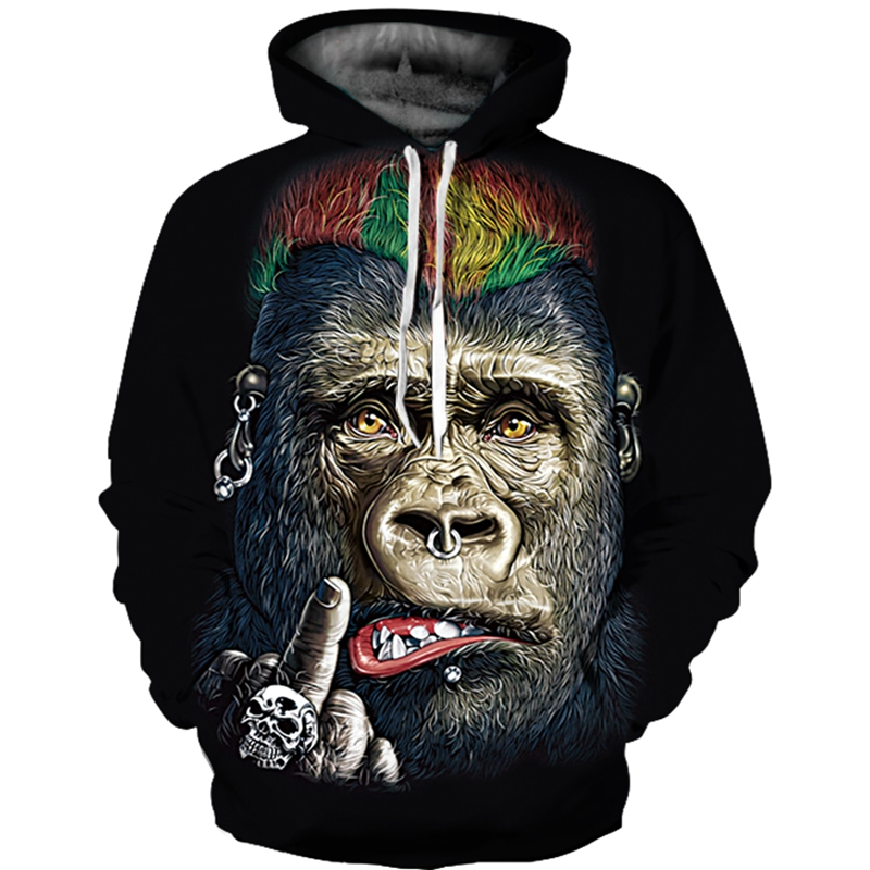 Funny Monkey All Over Printed Hoodie