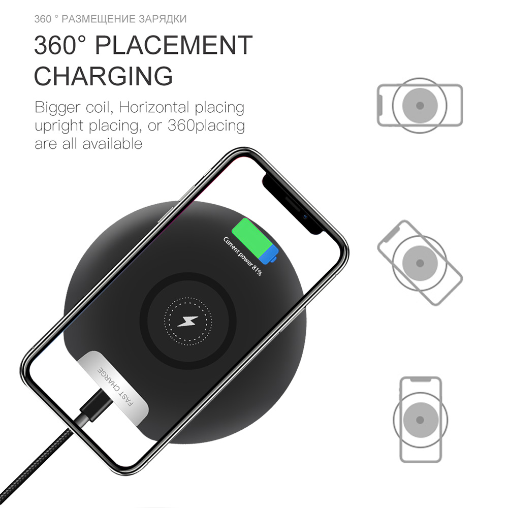 FDGAO 10W Quick Qi Wireless Charger For iPhone XS Max XR X 8 QC 3 0 Fast Charging Charger Pad Dock For Samsung S10 S9 S8 Note 9 in Mobile Phone Chargers from Cellphones Telecommunications
