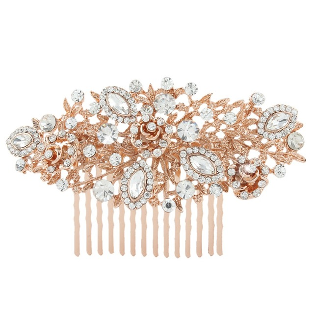 BELLA Fashion Rose Gold Tone Wedding Flower Hair Comb Pins Austrian