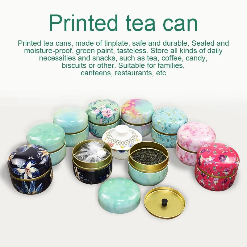 Multifunction Chinese Style Tea Caddies Round Metal Tea Box Jar With Lid #3