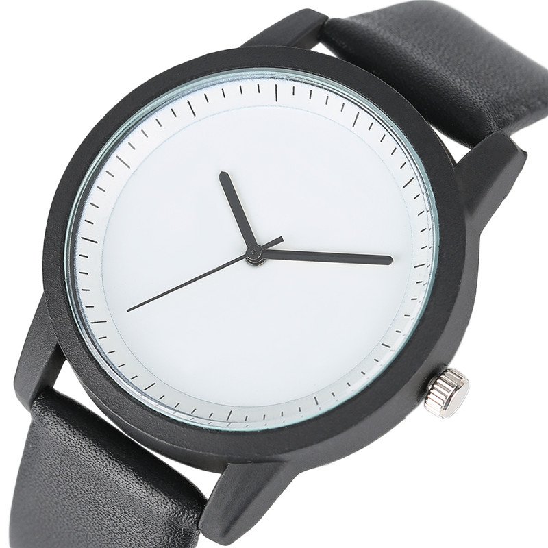 2017 Men Gift Creative Watch Black Case White Dial Design PU Leather Band Simple Quartz Wristwatch for Young People Reloj Hombre 2017 men s gift enmex unique design leather creative dial changing patterns simple fashion for young peoples quartz watches
