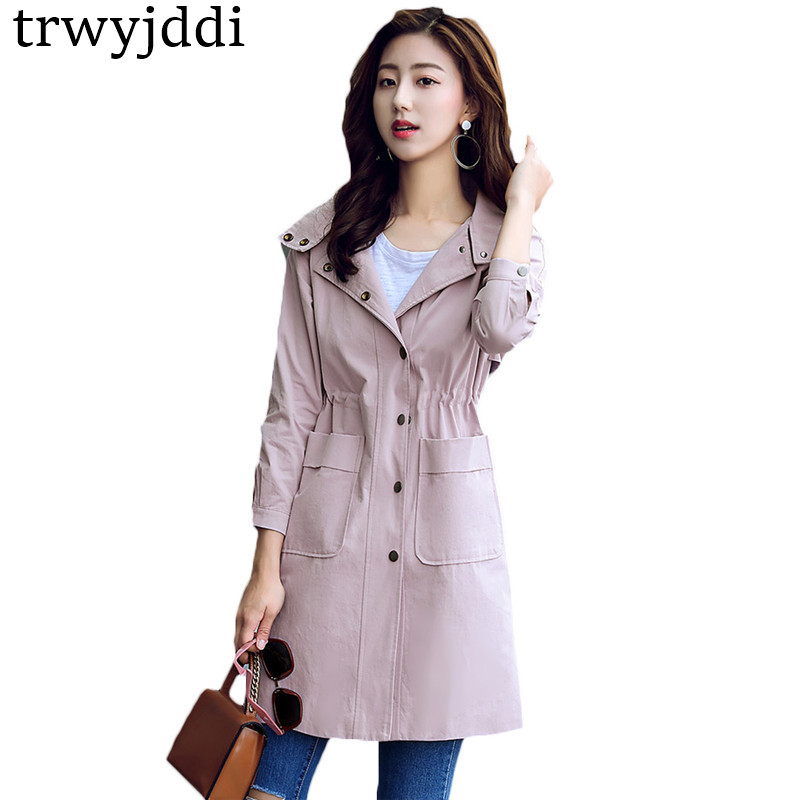 Fashion 2018 Spring Autumn New Women 's Windbreaker Casual Hooded Long 3/4 Sleeves Girls Outerwear   Trench   Coat Female A803