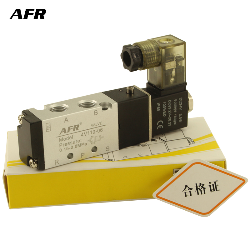 Air Solenoid Valve 5 Port 2 Position Gas Pneumatic Electric Magnetic DC12V DC24V AC220V 4V110-06 port 1/8