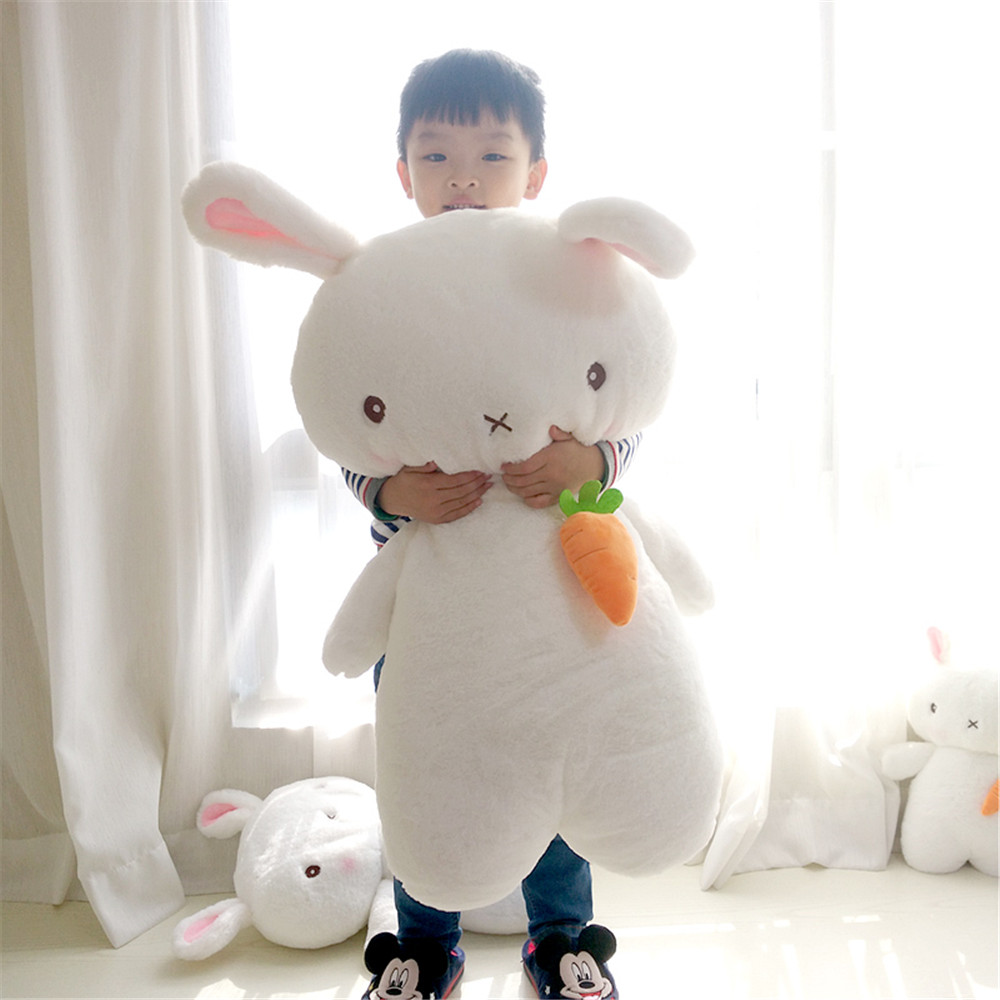 Fancytrader Cuddly Soft Anime White Bunny Plush Toy Stuffed Animals Carrot Rabbit Cartoon Pillow Gift for Girl 31inch 80cm цена