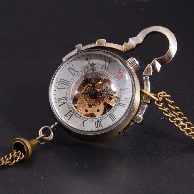Antique Mechanical Pocket Watch Chain Small Ball Design Bronze Steampunk Skeleto