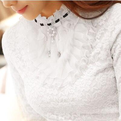 2019 nieuwe ruche parel vrouwen blouse kant wit kantoor dame shirts lange mouwen elegant solid slim sexy dieptepunt shirts tops