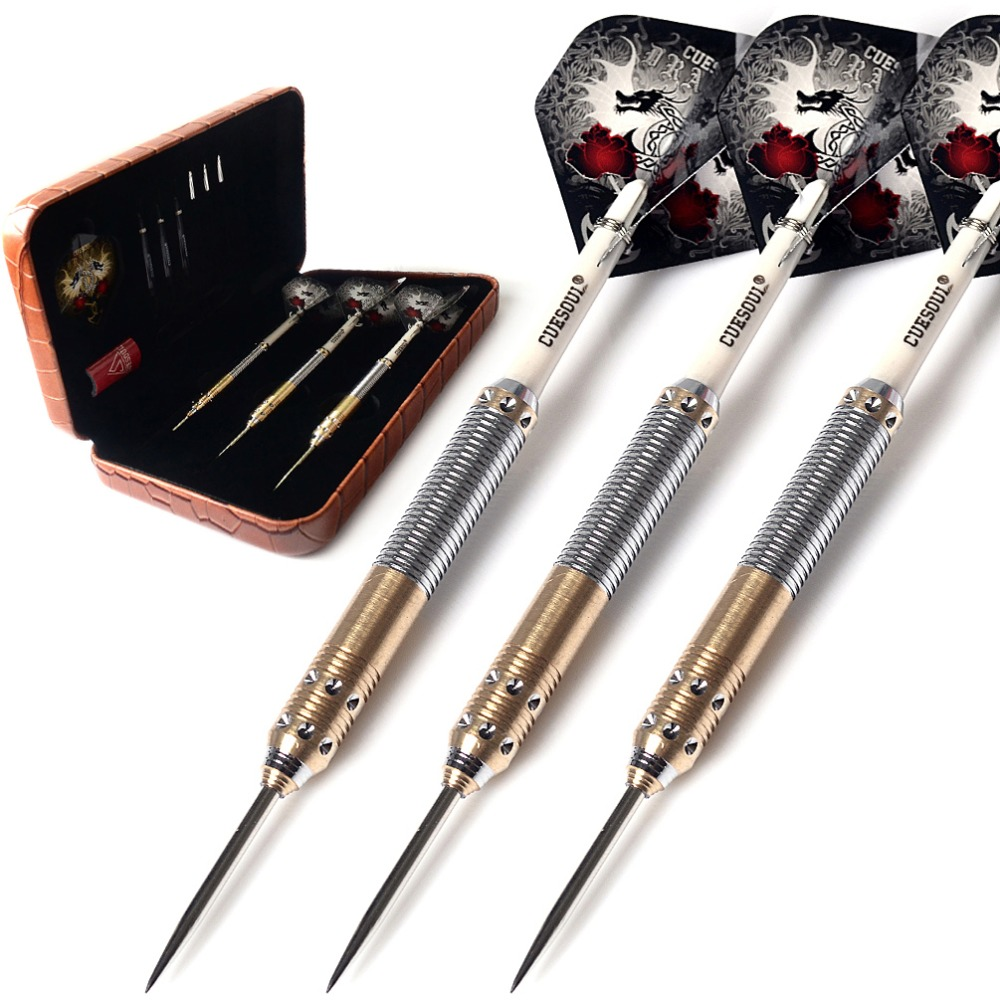 CUESOUL 21/23/25 Grams Deluxe Brass Steel Tip Darts Set Dragon Series cuesoul new tungsten steel tip darts armour series 21 23 grams