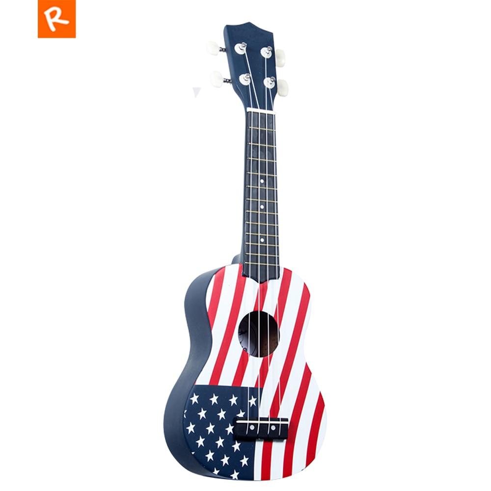 21 pouces Soprano bricolage ukulélé américain USA drapeau 4 cordes Mini guitare Basswood ukulélé pour enfant cadeaux UK2150