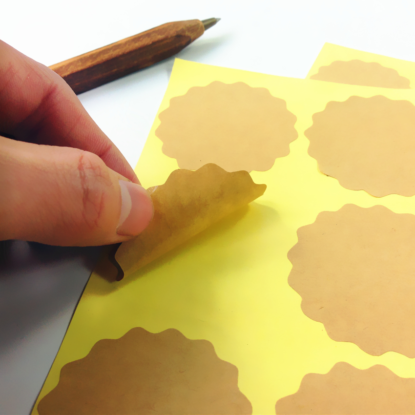100pcs/lot Blank Flower Design Thank You  Kraft Paper Self-adhesive Seal Sticker DIY Labels For Handmade Products