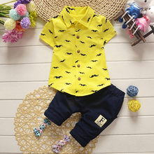 Summer Short Sleeve Cool Baby Outfit For Boy Print Fashion Moustache Print Tshirt + Solid Pants 2pcs Baby Clothes Set For Boy(China)