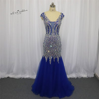 Robe de Soiree Longue 2018 Sexy Royal Blue Formal Evening đảng Gowns Crystals Cap Sleeve Mermaid Prom Dresses Dài Tulle Boda