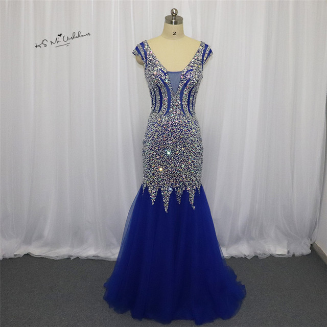 a2326bc68478 Robe de Soiree Longue 2018 Sexy Royal Blue Formal Evening Party Gowns  Crystals Cap Sleeve Mermaid Prom Dresses Long Tulle Boda